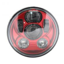 "5.75"" 45W Motorcycle Projector LED Light Bulb Headlight for Harley Davidson Sportster Dyna Softail Red"